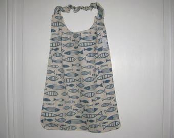 Napkin customizable sleeves with elastic pattern chart blue fish, marine style