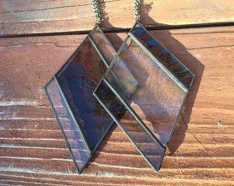 Stained Glass Ornament or Window Hang - SET OF TWO