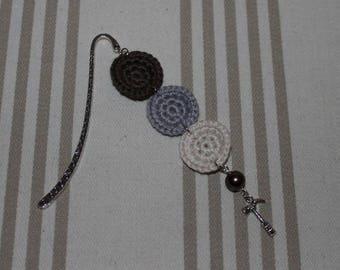 Bookmark crochet cotton Brown, gray, ecru, hammer charm in silver