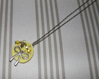 Lemon yellow crochet pendant necklace and Silver - gift