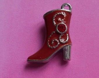 1 boot heel metal red enamel