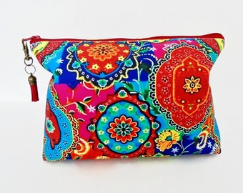 Gifts for her, Canvas Wash bag,Boho, Indian, colourful travel bag, cosmetic bag, zip bag, make up bag.