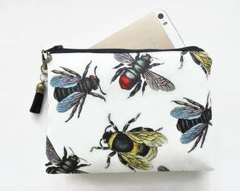 Mum gifts, Canvas Pouch, Bee species, Vintage bees, bee wallet.