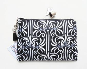 Mum gifts, Monochrome, Art nouveau,  small zipper bag, travel bag, wallet, zipper pouch.