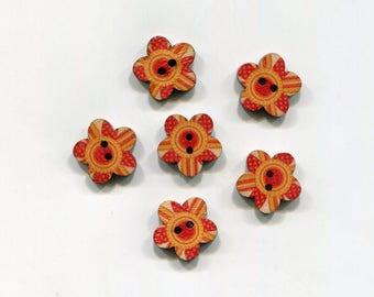 set of 6 flower wood buttons * orange-red pattern * 17 mm