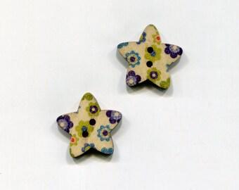 buttons 2 star 25mm * 8 flower pattern * wood