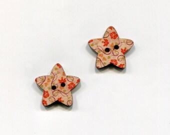 buttons 2 star 25mm * 11 flower pattern * wood