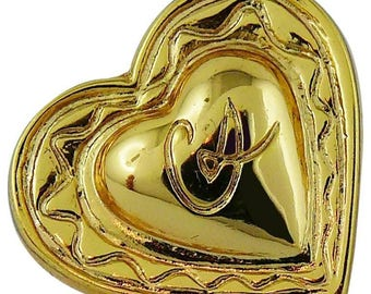 Vintage CHRISTIAN LACROIX hearted gold toned brooch.