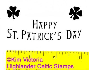Happy Saint Patricks Day & Shamrocks Luck 3 Unmounted Rubber Stamps