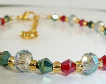 Swarovski crystal & seed bead bracelet