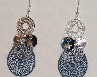 Earrings prints, stars, drops, dangling earrings earrings, Stud Earrings Navy Blue, silver.