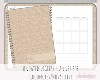 Digital Planner or Digital Journal iPad Goodnotes | Digital Journal | Undated With Functioning Tabs | MInimal Design