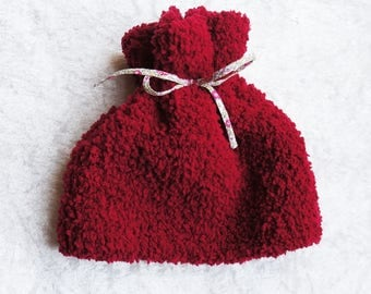 12-18 months: Cap girl red plush wool hand knitted
