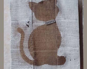 "TABLE SILHOUETTE PALLET WOOD ""KITTEN"""