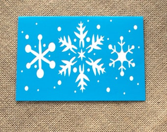 """Blue, White and Silver """"Let it Snow"""" Card Handmade Christmas Card"""