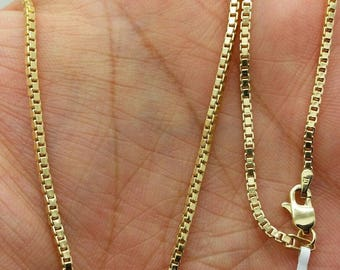 "14k Yellow Gold Hollow Box Necklace Chain Pendant 18""-24"" 1.6mm"