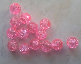 Set of 170 cracked pink beads 10mm