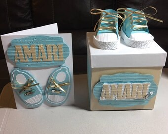 Baby shower gift box etsy baby boy personalized card and keepsake box baby shower baby shower card baby negle Image collections