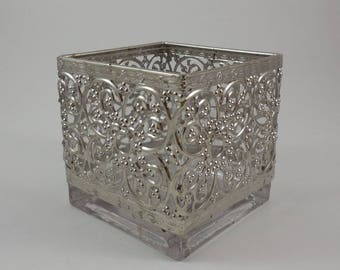 Square glass vase with silver overlay