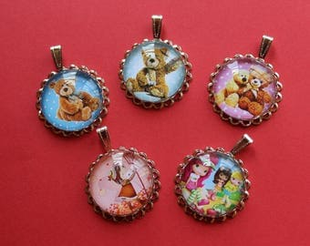 5 supports pendants with 25 mm Teddy bear / child