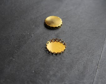 2 support cabochons 20 mm, gold