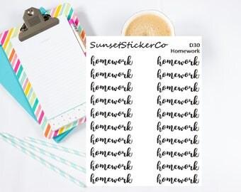 Homework Text Sticker (D30)