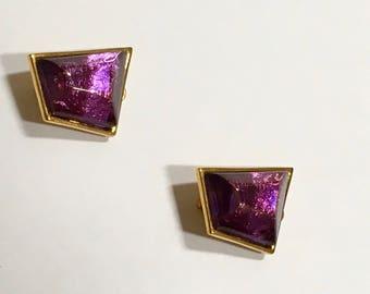 Essex Earrings Faux Amethyst Clip On Purple Jewelry Birthstone Christmas Vintage