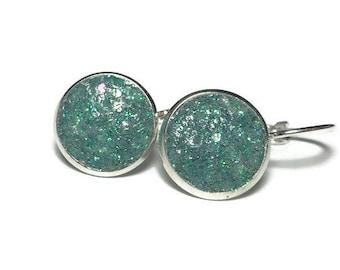green druzy,  lever back earrings, geode earrings, hypoallergenic, crystal earrings, under 10 dollars, drop earrings, drusy, pine, drusy