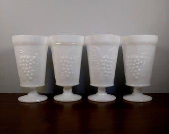 4 Vintage Milk Glass footed glasses grape harvest design pattern set of 4
