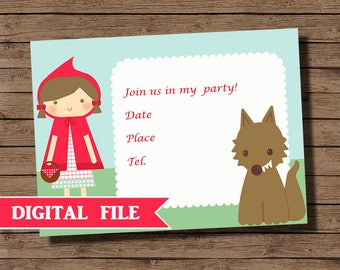 Red Riding Hood Party Invitation | Red Riding Hood Birthday Invitation Printable | Red Riding Hood Birthday Invitation