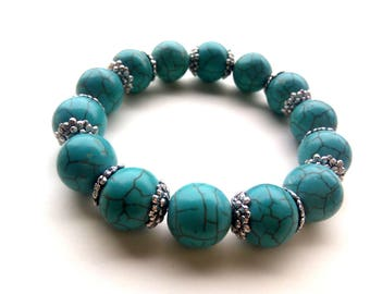 Turquoise Bracelet 14 mm, Blue Stone Bracelet, Blue Bead Bracelet, Turquoise Jewelry, Blue Stone, Blue Jewelry,Blue Bracelet,Blue Gift