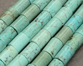 Beautiful set of 4 large Turquoise cylinder beads