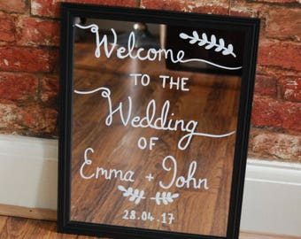 Personalised Welcome Wedding Sign | Mirror Sign | Wedding Signs | Wedding Mirror Sign