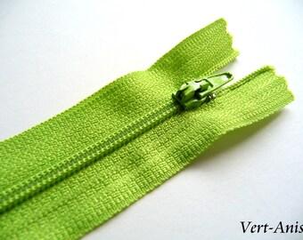 Lime green zipper length 25 cm