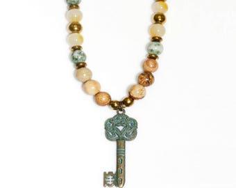 Key necklace, Bead necklace, Key pendant necklace, Pendant necklace, Long necklace, Beaded necklace, Women necklace, Necklace gift