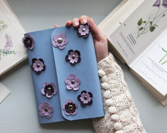 Flower Journal, Floral Journal, Flower Notebook, Gift For Her, Leather Journal, Refillable Leather Journal, A5 Ring Binder, Gift Notebook