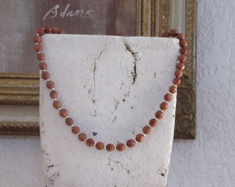 Goldstone & Sterling silver necklace