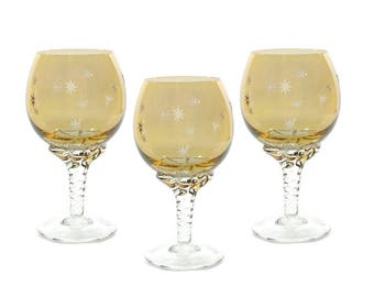 Vintage Italian Blown Glass Starburst Goblets / Empoli Glassware / Venetian Amber Glass