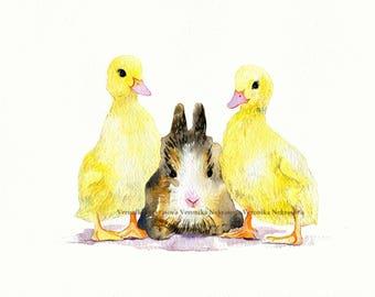 Farm Nursery Decor Farm Animal Nursery Wall Art Original watercolor Rabbit Bunny Duckling