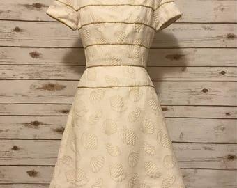 Vintage 1990s Gold Seashell Dress