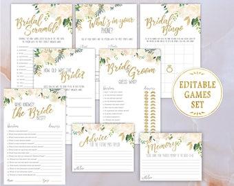 Bridal Shower Games Set KIT Editable Template White Roses Gold Flowers Editable PDF digital Print Bridal Games Floral Kit Printable