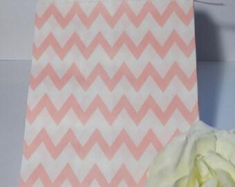 Pink set of 5 chevron paper bags