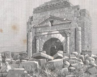 Tunisia 1800's, The Trajan's Arch at Mactor, Old Antique Vintage Engraving Art Print, Town, Tower, Spire, Roof, Tent, Building, Mosque, Dome