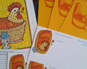 "Vintage Recipe Cards Collection ~ 70s Current Chicken ""Kitchen Crockery "" 9 Piece Set ~ Cooking Journals ~ Recipe Box"