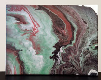 Abstract Fluid Acrylic Canvas Painting/ Original Artwork/ One of a Kind/ 11x14 Inches
