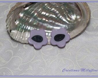 Purple flower clip earrings