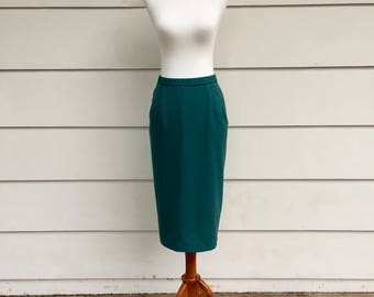 Vintage 70s / 80s Pendleton Pencil Skirt Teal Green High Waisted