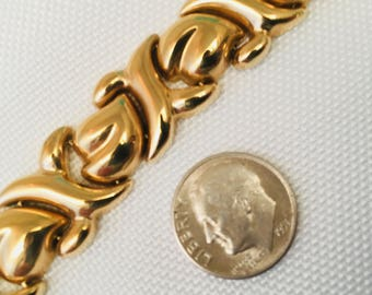"""Vintage 14k Stampato """"X's and Hearts"""" 6-7/8 Inch Bracelet in Yellow Gold 22.83 Grams RCI Royal Chain Inc"""