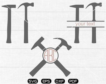 Hammer Svg, Hammer Clipart, Monogram Frame cricut, cameo, silhouette cut files commercial & personal use