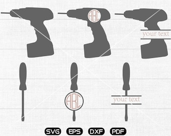 Screwdriver Svg, Electric tool Clipart, Monogram Frame cricut, cameo, silhouette cut files commercial & personal use
